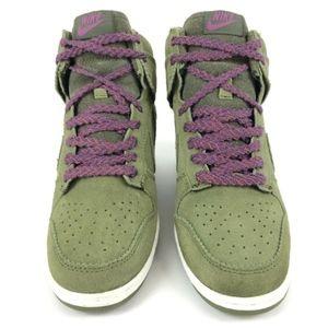 Nike Shoes - Nike Sky Hi Dunk Wedge Olive Green Suede 528899-20